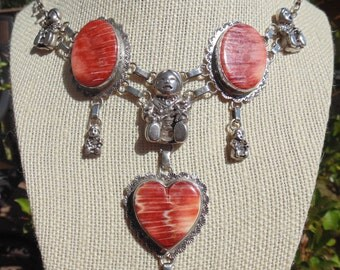 Carol Felley ~ Large Sterling and Spiny Oyster Story Teller Necklace with Matching Spiny Oyster Bracelet