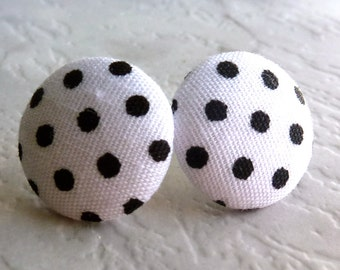 White and black polka dot stud earrings