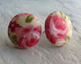 Floral fabric stud earrings