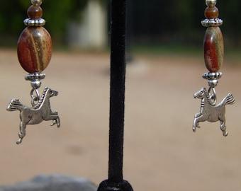 Mosaic Jasper Earrings with Horses