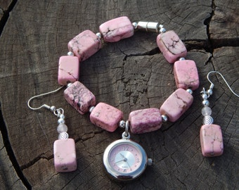 Pink Howlite Dangling Watch Bracelet with Matching Earrings