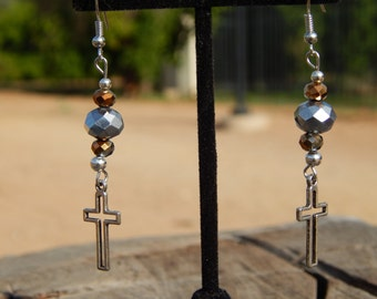 Cross Earrings with Sparkling Glass Beads