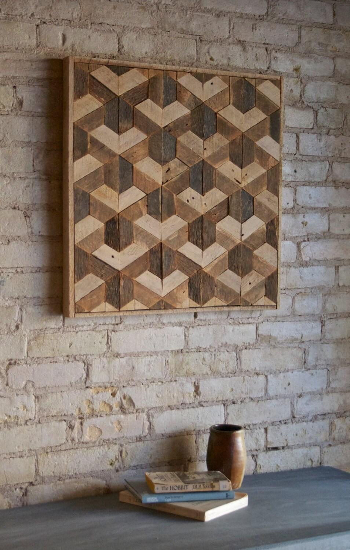 reclaimed wood wall art decor lath pattern geometric. Black Bedroom Furniture Sets. Home Design Ideas