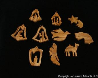 SALE! SALE! Olive Wood Christmas Ornaments Bundle (10 pieces)-OW002
