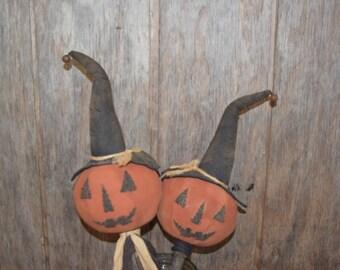 Primitive Handmade Pumpkins Heads on a Stick ~ Fall ~ Halloween