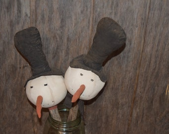 Primitive Handmade Snowman Head on a Stick ~ Winter ~ Christmas