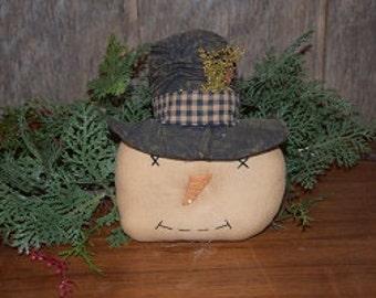 Primitive Handmade Snowman Head with Hat Tuck~ Winter ~ Christmas