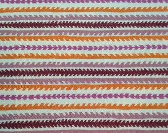 Hope Valley: By DENYSE SCHMIDT, 1 yard cut, 100% cotton quilting fabric, OOP, Canyon Stripe in plum/orange/mauve/cream vintage look! Rare!