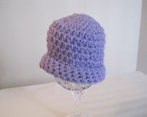 "Crochet Preemie Hat, lavender, 10"" diameter, 4-1/2"" from crown to lower edge"