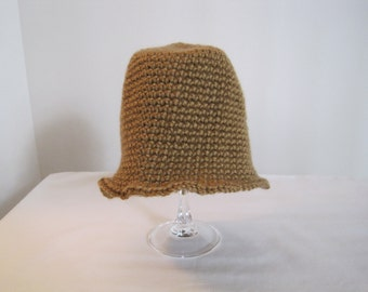 Crochet Hat, honey, with ruffle edge, toddler size