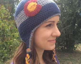Colorado Flag Hat Beanie - muted colors and ear flaps