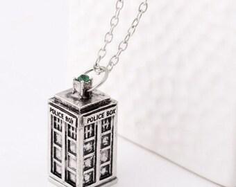 Police Box Silver Tone Tardis Necklace