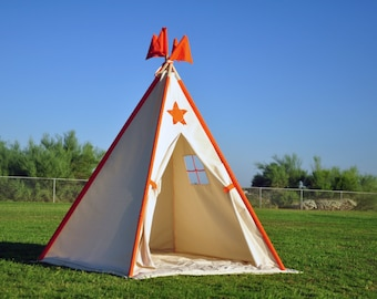 Sunshine Canvas Kids Teepee, Kids Play Tent, Childrens Play House, Tipi,Kids Room Decor