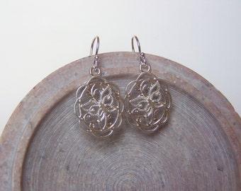 Sterling Silver Filigree Butterfly Earrings, Sterling Silver Ear Wires