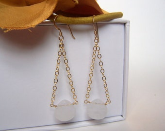 Light Pink Quartz Earrings, 14K Gold Filled Ear Wires and Chain