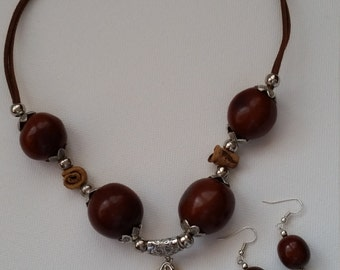 Unique Brown Tagua Necklace with matching earrings
