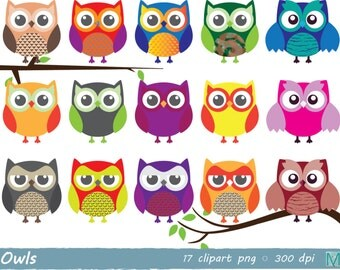 Owsl clip art images - for Scrapbooking Card Making Cupcake Toppers Paper Crafts - instant download digital file - PNG