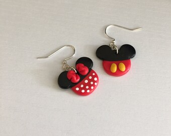 Child Size Disney's Mickey and Minnie Mouse  Dangle / Stud  Earrings. Handmade Mickey and Minnie Mouse Earrings. Minnie Mouse. Mickey Mouse.