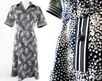 Black and white vintage dress with short sleeves and a belt, size EU 40 / UK 12 / US 10