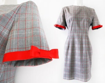 Cute black, white and red checkered dress with bright red bow details, size EU 42 / UK 14 / US 12