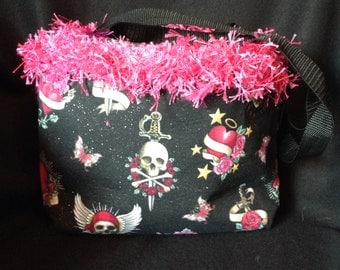 Tattoo Assortment, skulls, hearts, sword, girly w/ Glitter handbag / purse