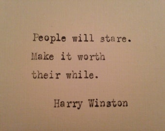 Harry Winston quote hand typed on antique typewriter scrapbooking
