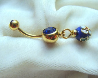 Blue Cloisonne Belly Ring
