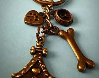 """Antique bronze keychain -""""Charlie"""""""