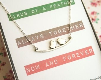 Best Friend Gift, Mothers Necklace, Sister Gift, Birds of a Feather, Bird Branch Necklace, Simple Dainty Layering Necklace