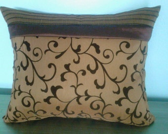 Lovely chocolate and copper accent pillow cover