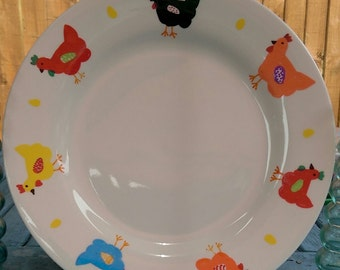 chicken  plate. hand painted plate. home decor. wall decor. gift for girlfriend. chickens. decor. unique gift