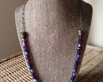 Amethyst and antique brass beaded necklace