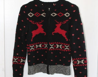 Vintage 50s Knit Christmas Sweater Cardigan Metal Zipper Reindeer Pom Pom Extra Small Winter