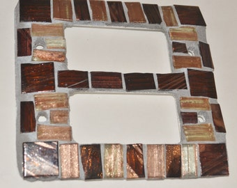 Decorative Mosaic Double Light Switch Plate / Cover, Handmade, Bronze and Copper Glass Tiles
