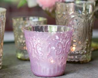 Pink Mercury Glass Votive Holder