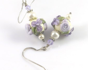 Mauve Cream Floral Earrings, Flower Earrings, Lampwork Glass Earrings, Raised Flower Earrings