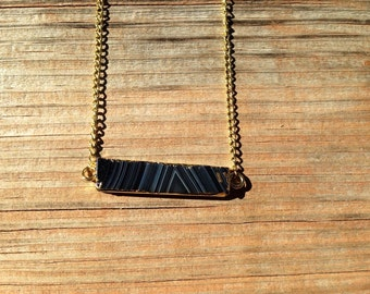 Rectangle Black Agate Necklace
