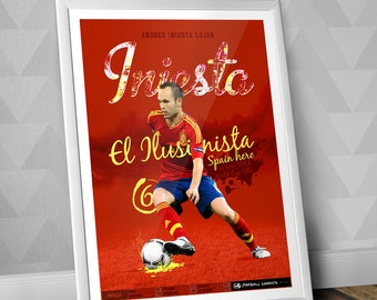 Andrés Iniesta - Spain National Team Print