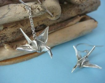 Origami lucky crane dangly earrings, fine silver