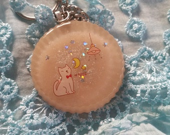 resin Keyring with night Kitty