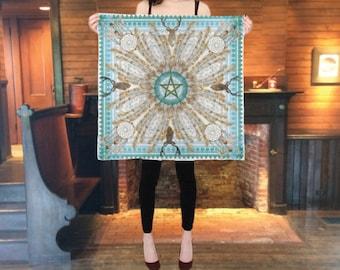 Silk altar cloth, Yule altar cloth, pagan wheel of the year Winter Solstice, 26 by 26 inch, Large silk scarf, pentagram, tarot cloth, wiccan