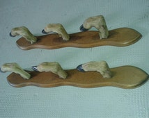 Vintage french Gun rack taxidermy curiosities hunting shooting home living