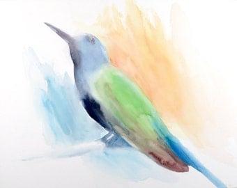 Hummingbird 16 x 20 - Original Watercolor Painting on Watercolor Panel