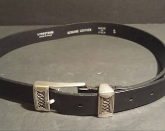 infinity belt. nordstrom leather italy belt made in italy size small black buckle loop design infinity -
