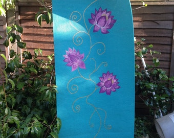 OOAK hand painted lotus flowers  yoga mat