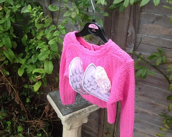 OOAK angel wings pink cardigan 18 months - 2 years