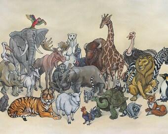 "Zoo Animals Portrait 8"" x 12"""