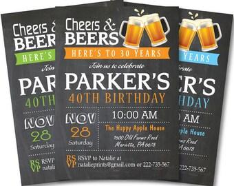 40th Birthday Invitation for Men. 30th 50th 60th. Cheers and Beers Invitation. Surprise Birthday Invitation. Printable Digital.