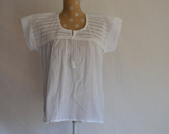Vintage Oaxacan Embroidered Blouse - All White