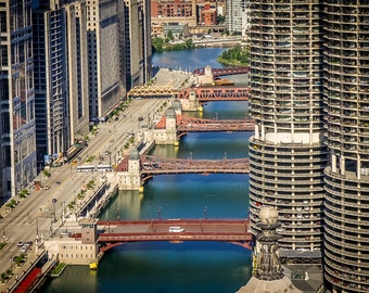 Chicago River Bridges Marina City Towers Art Photography Print Wall Decor